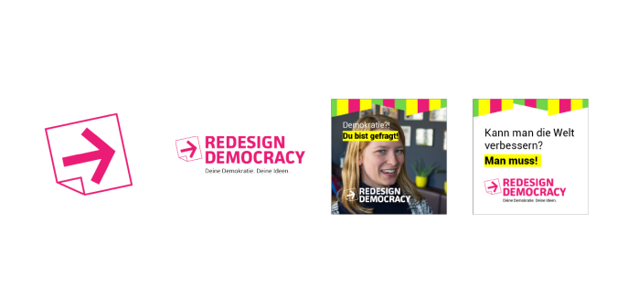 Redesign Democracy Logo, Logo mit Tagline, Corporate Design